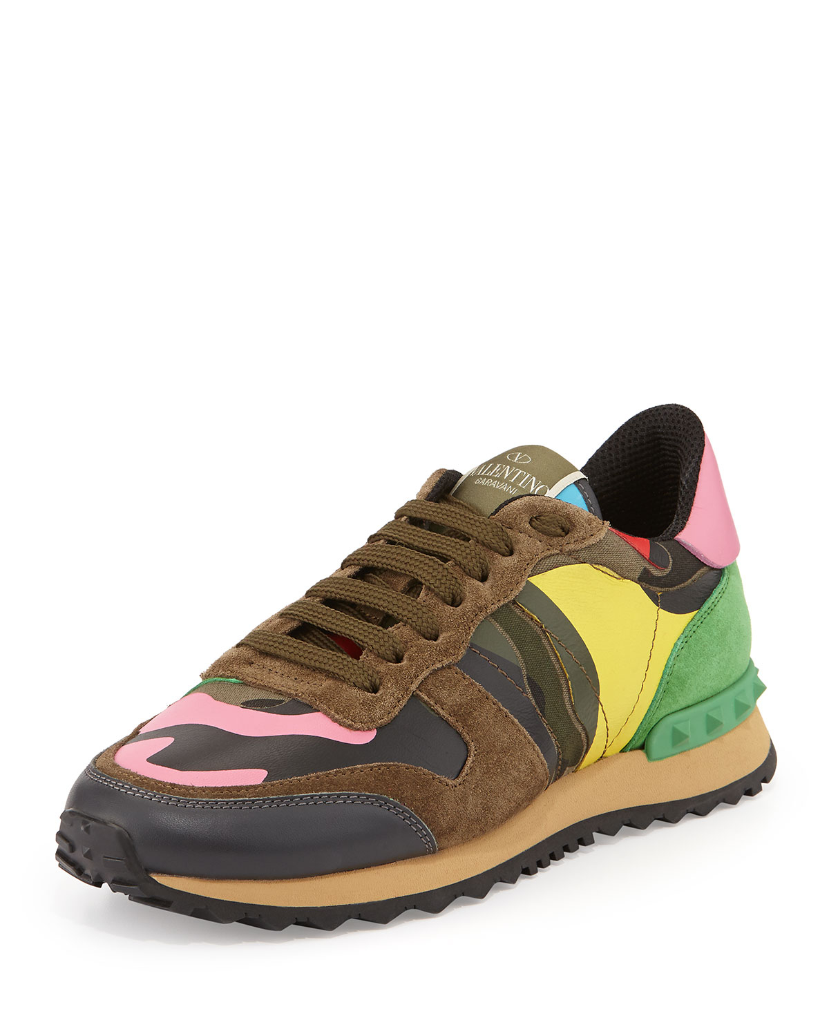 valentino psychedelic camouflage sneaker in green lyst. Black Bedroom Furniture Sets. Home Design Ideas