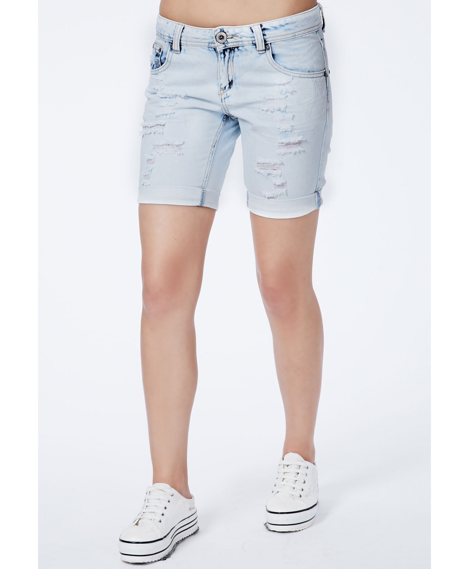 Missguided Nikita Knee Length Denim Shorts with Ripped Detail in ...