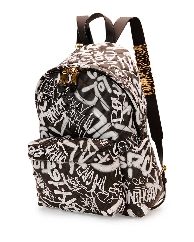 Moschino Graffiti Print Backpack In Black Lyst