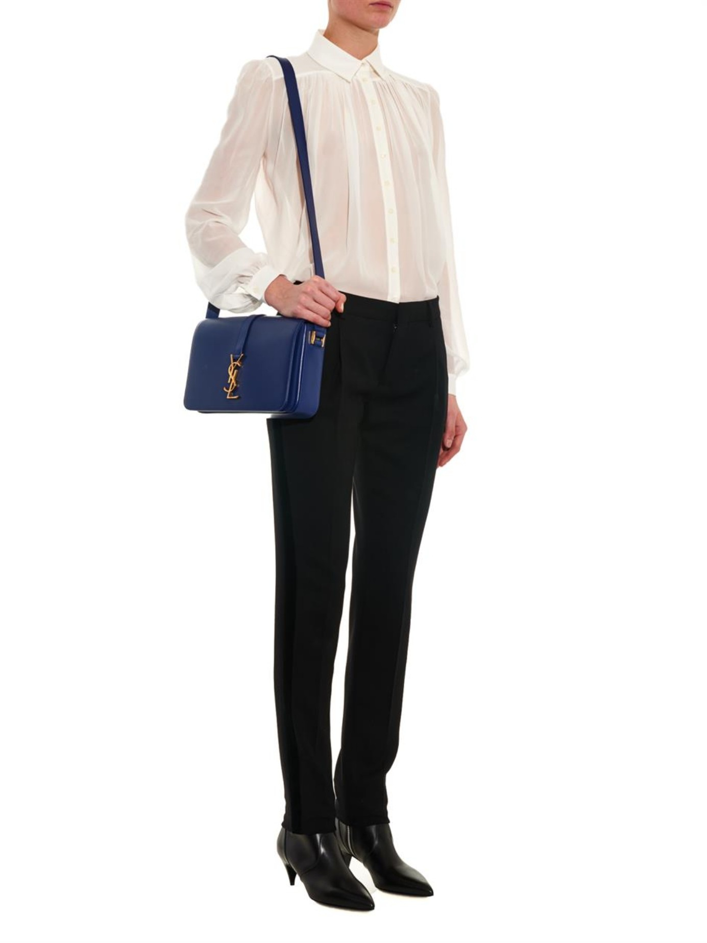 ysl mini cabas chyc black - classic large monogram saint laurent college bag in navy blue ...