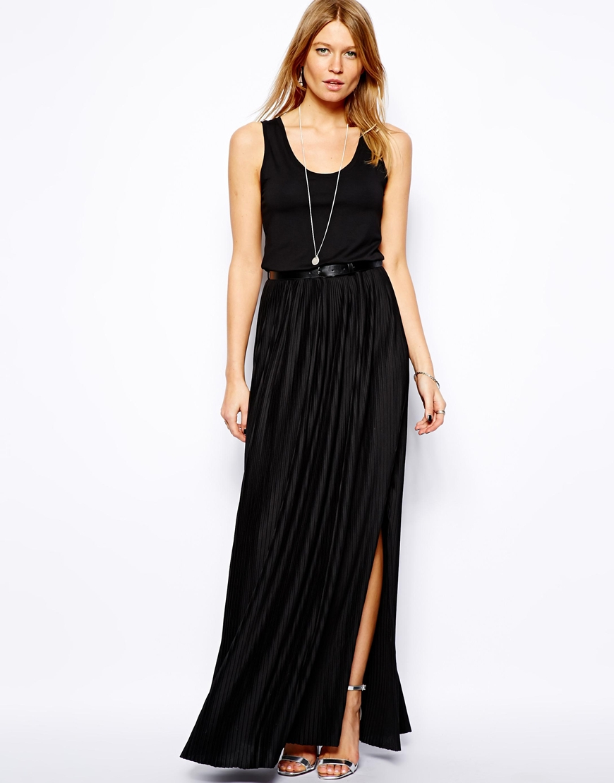 mango pleated skirt maxi dress in black lyst