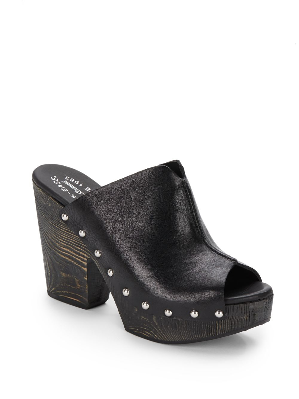 Black Studded Wedge Shoes