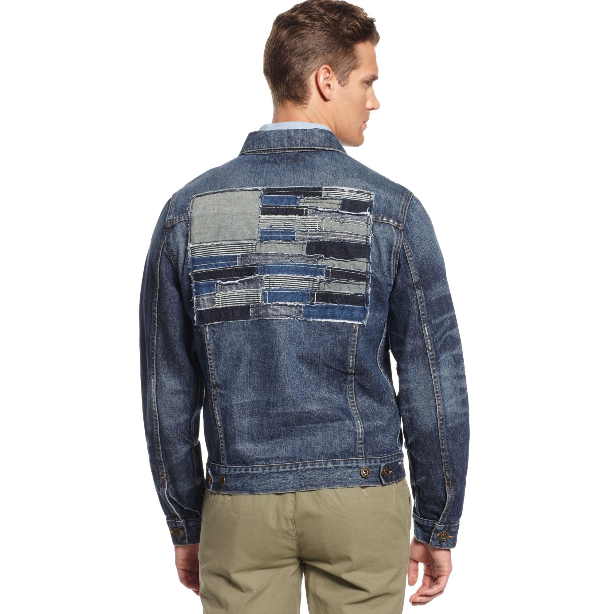 tommy hilfiger denim patchwork flag jacket in blue for men. Black Bedroom Furniture Sets. Home Design Ideas