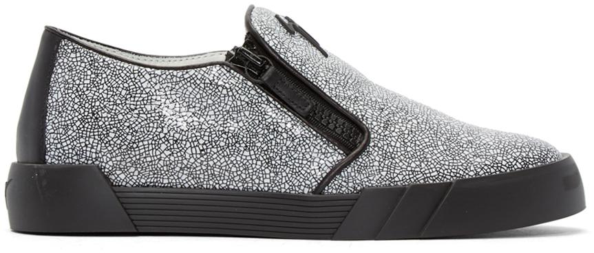 2bf8f3062e482 Giuseppe Zanotti Black & White Cracked London Slip-on Sneakers in ...