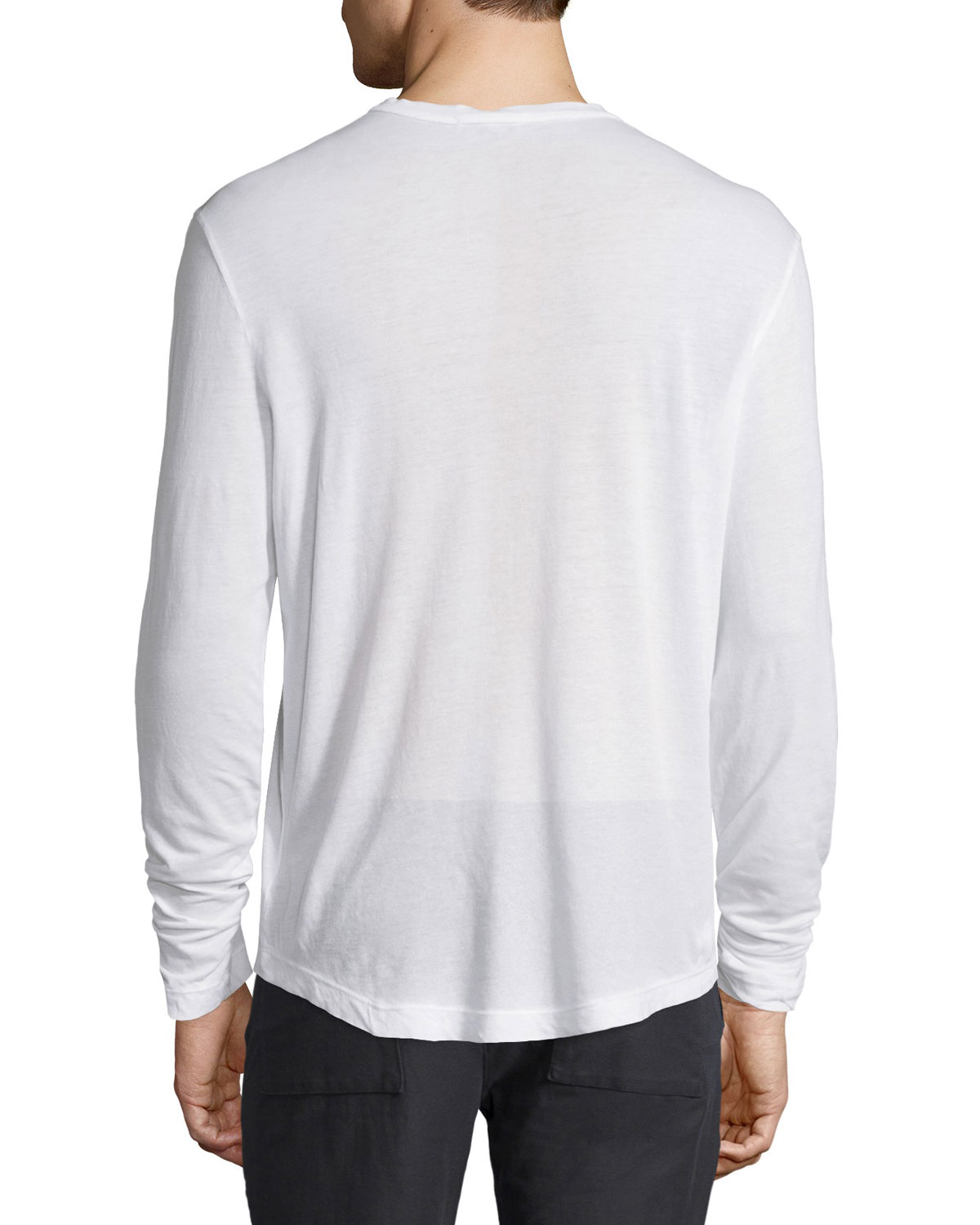 James perse long sleeve knit henley shirt in white for men for James perse henley shirt