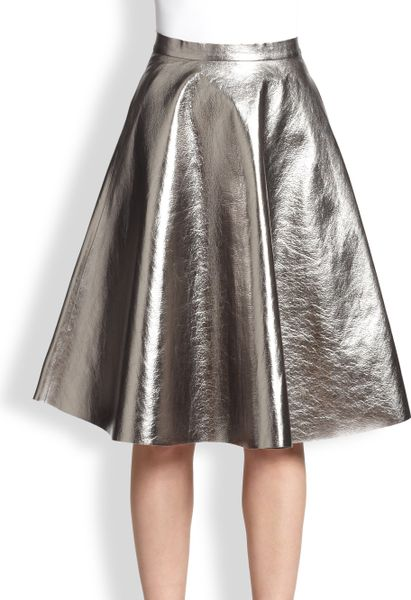 msgm metallic faux leather a line skirt in silver lyst