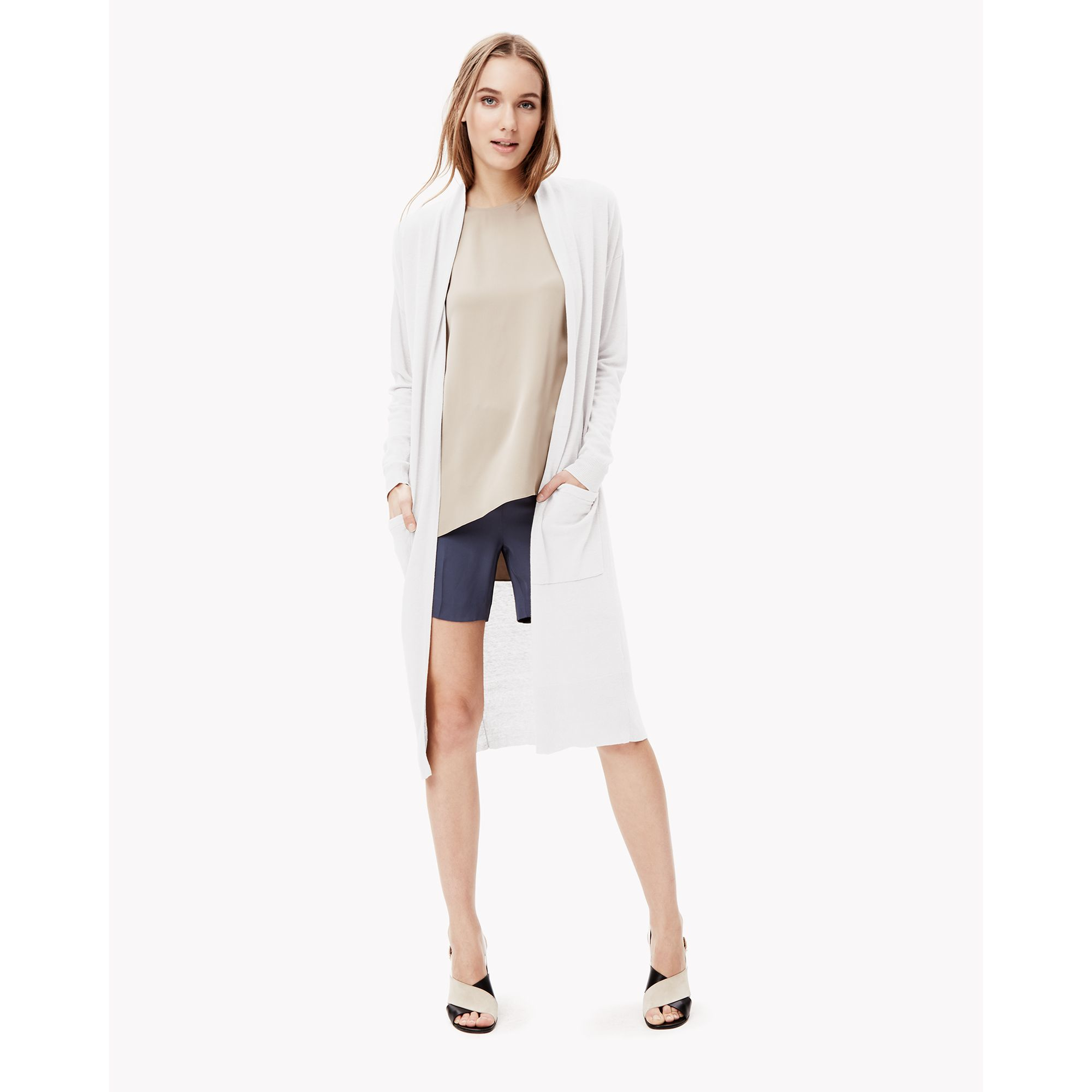 Theory Soft Linen Cardigan in White | Lyst