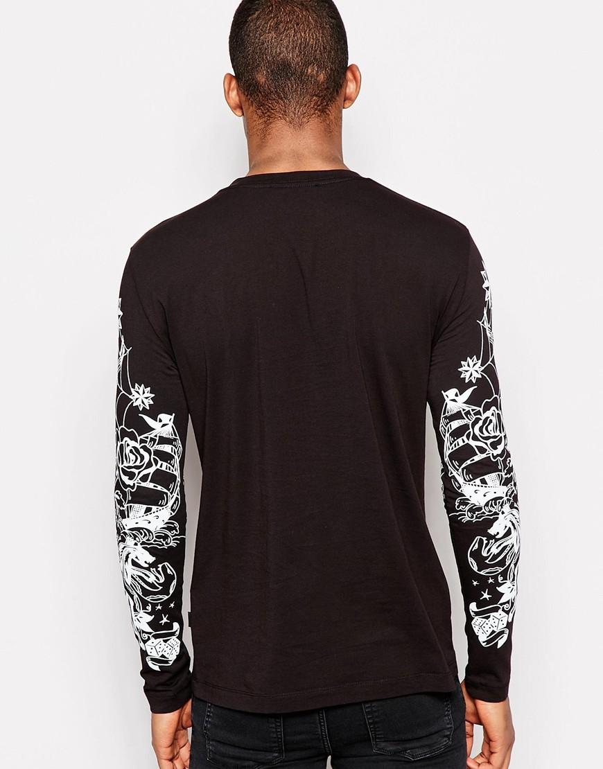 Shirt Sleeve Tattoo: Love Moschino Long Sleeve T-shirt With Tattoo