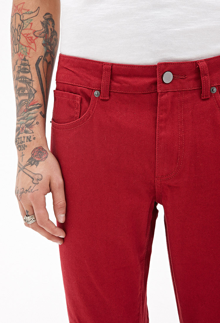 Forever 21 Slim Fit Moto Jeans in Red for Men | Lyst