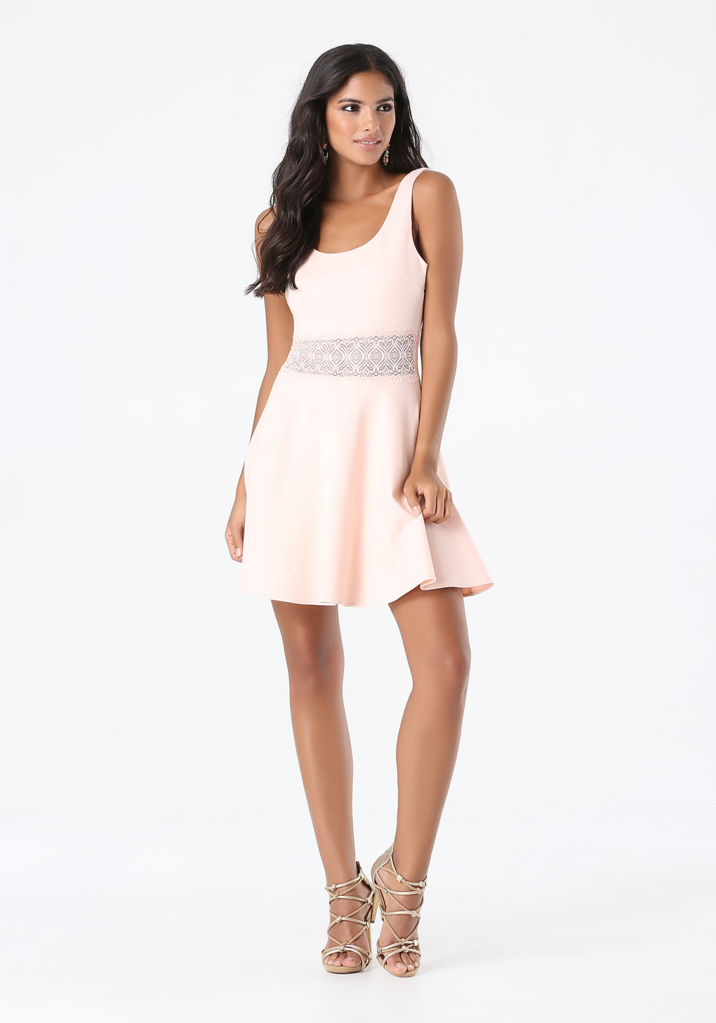 Lyst Bebe Veronica Lace Inset Dress In Pink