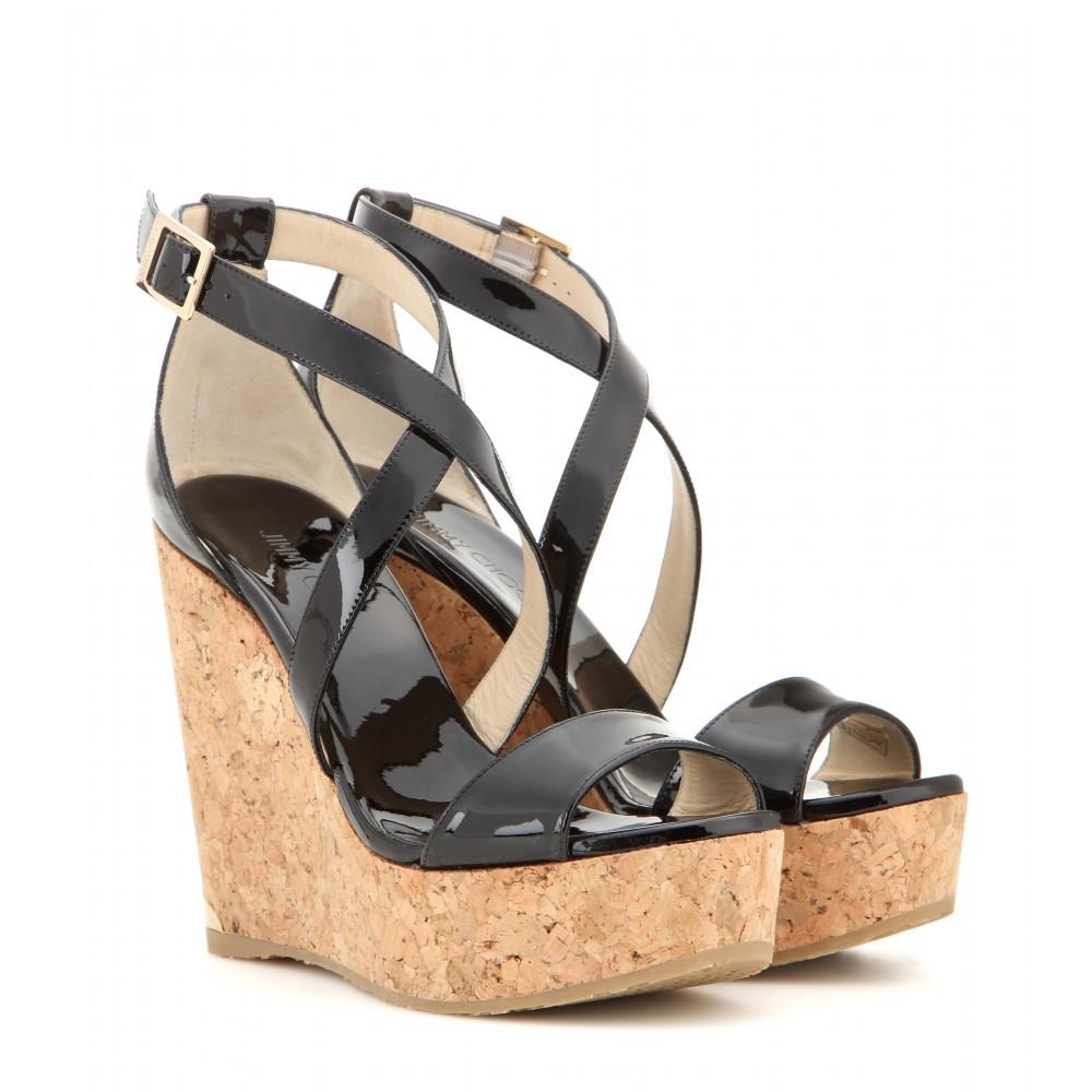 74d7d09c965c ... sale jimmy choo portia patent leather wedge sandals in black lyst 93590  221d9