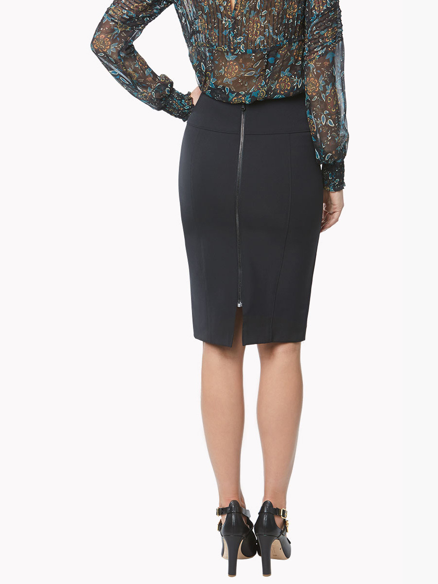 Veronica beard Black Scuba Pencil Skirt in Black | Lyst