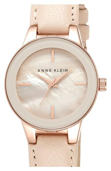 Anne klein round leather strap watch in pink lyst for Anne klein leather strap