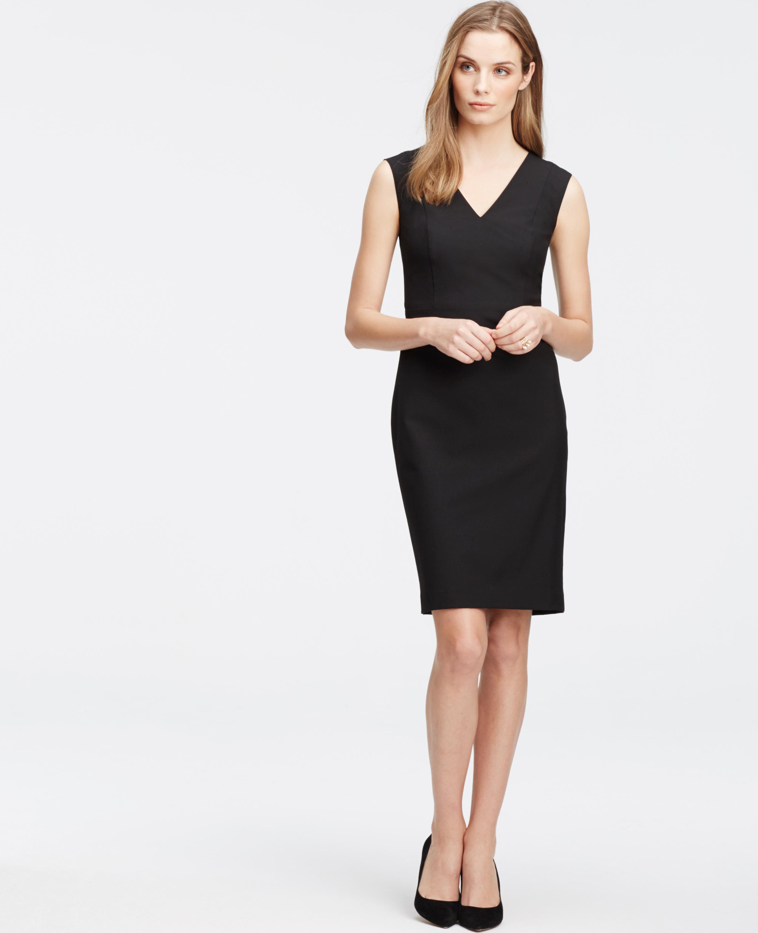 Lyst - Ann Taylor Petite All-season Stretch Seamed Sheath Dress in Black