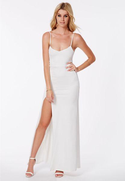 Missguided Vikonda White Crepe Cami Split Front Maxi Dress