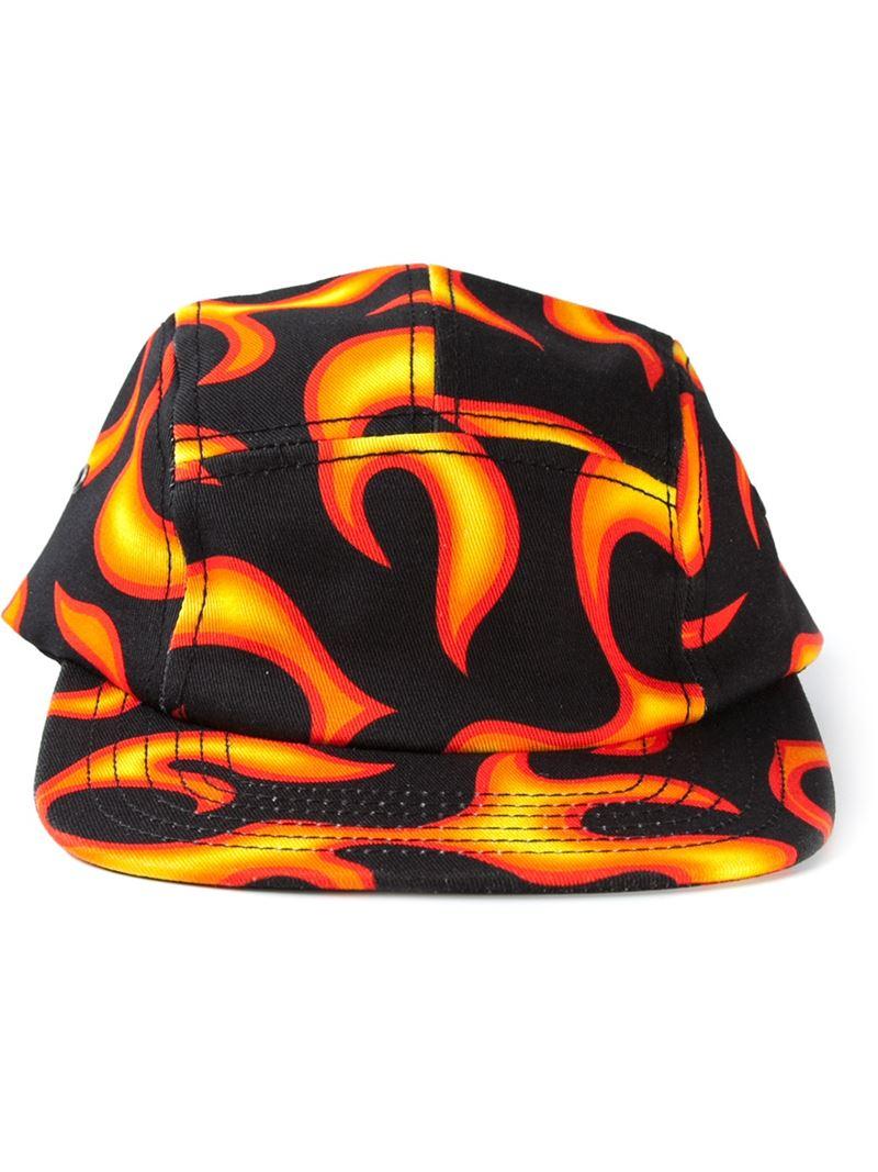 8c94e09989 Love Moschino Fire Print Cap in Orange for Men - Lyst