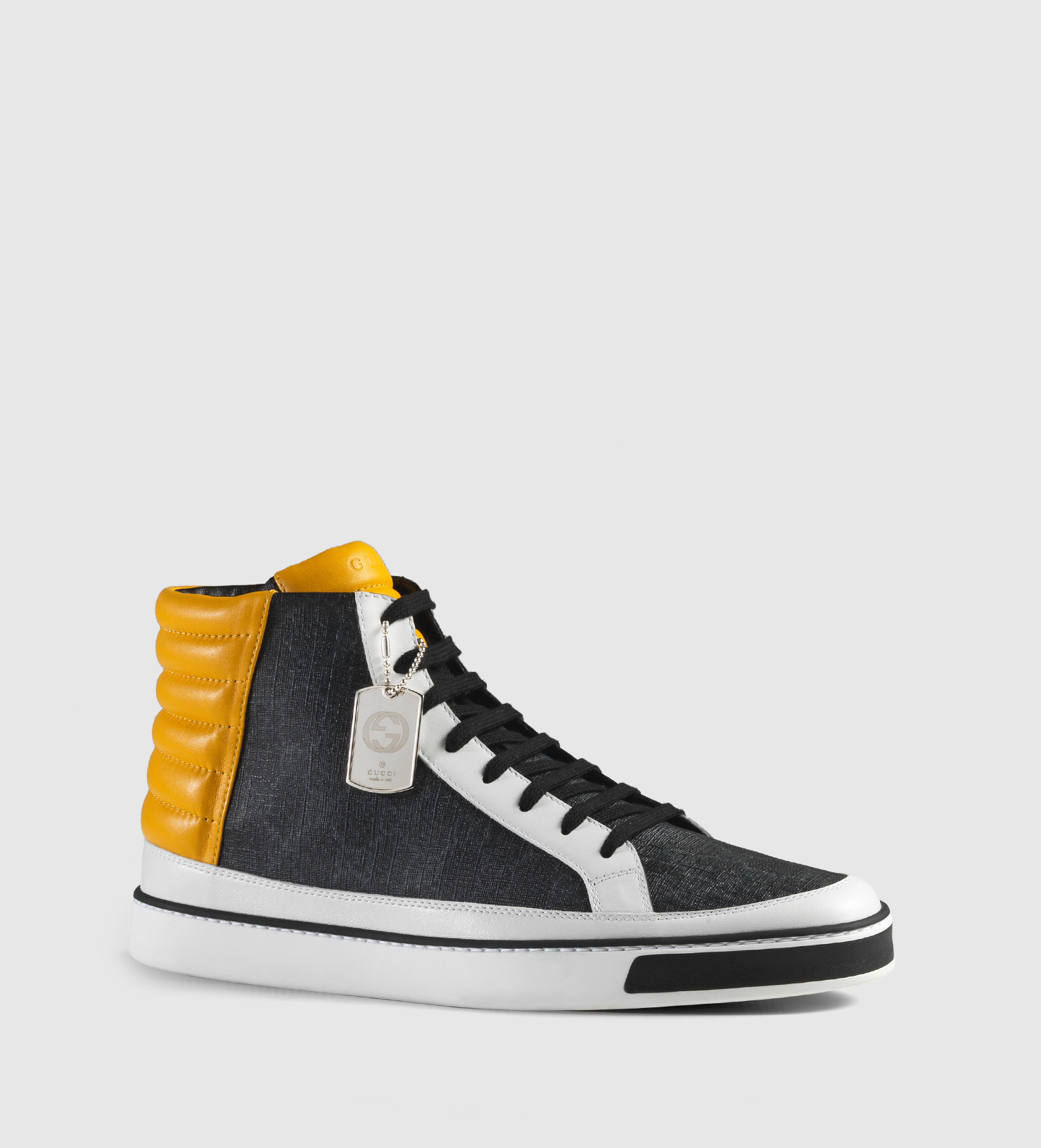 87cac8687dac2 Lyst - Gucci Gg Supreme And Leather High-top Sneaker in Gray for Men