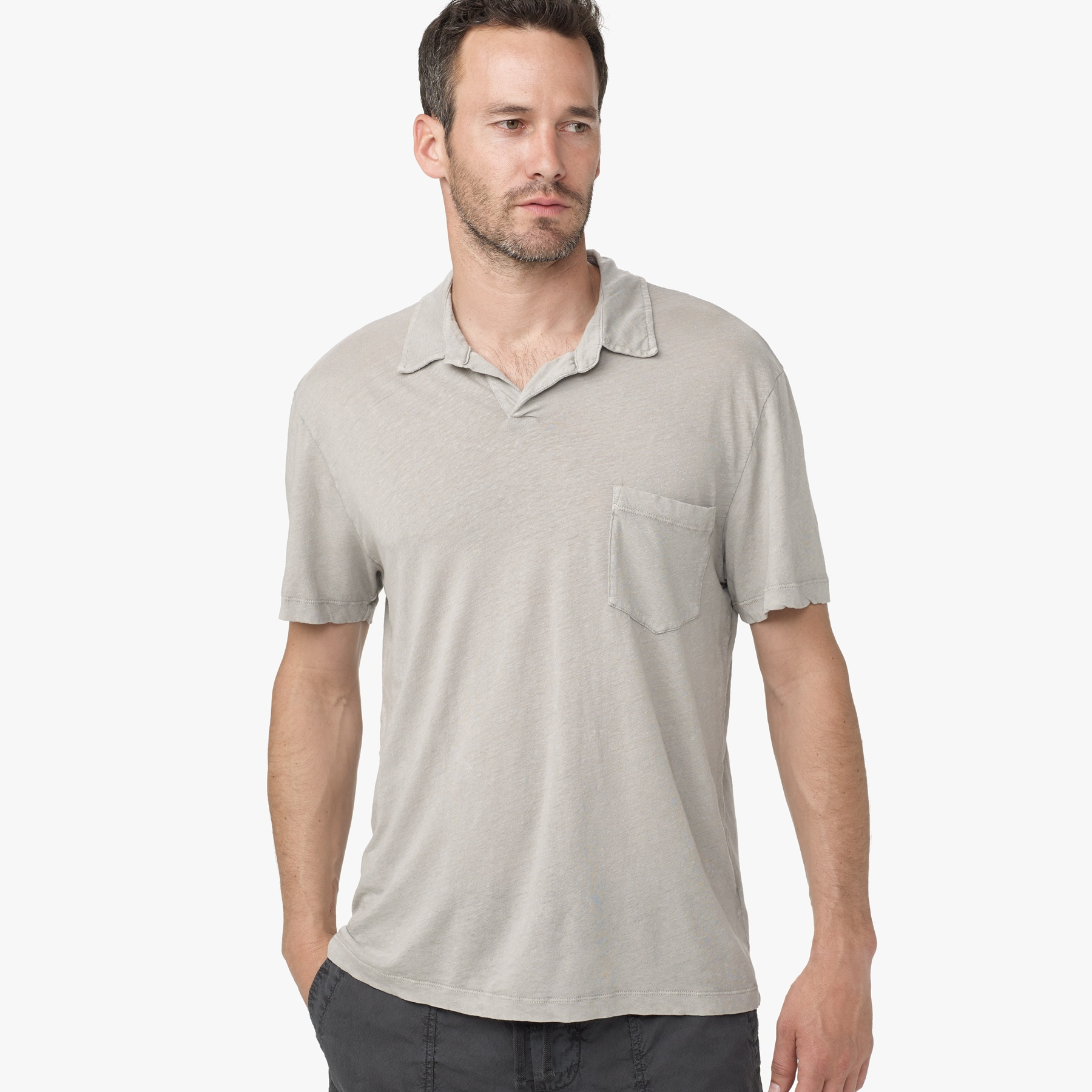 James Perse Linen Cotton Polo In Gray For Men Shadow