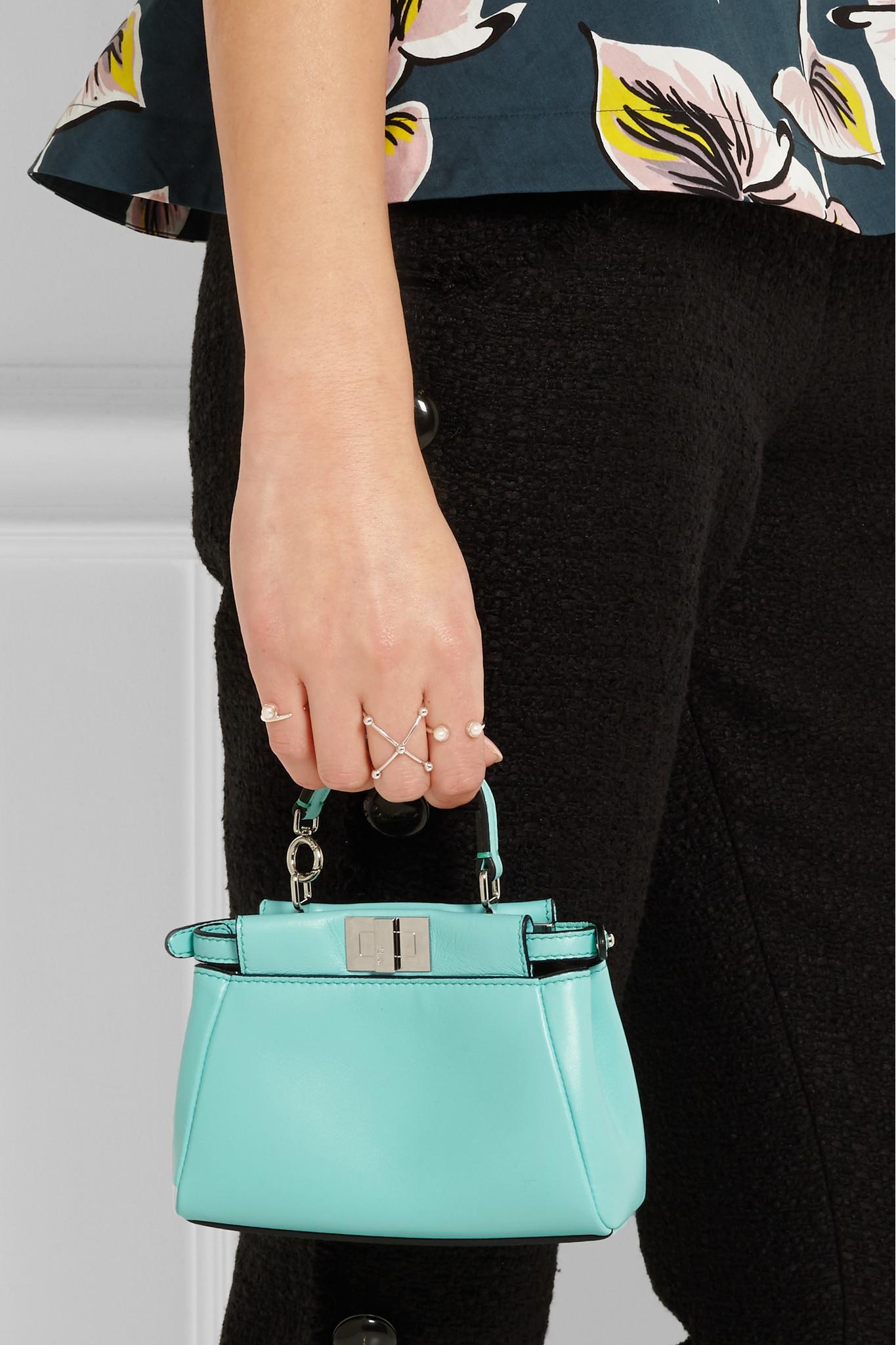 c88a7a2de84f ... discount code for fendi peekaboo micro leather shoulder bag in blue lyst  13834 59b32