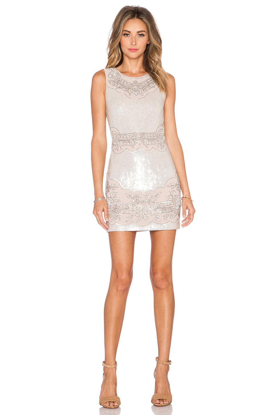 Pearl sequin lace dress