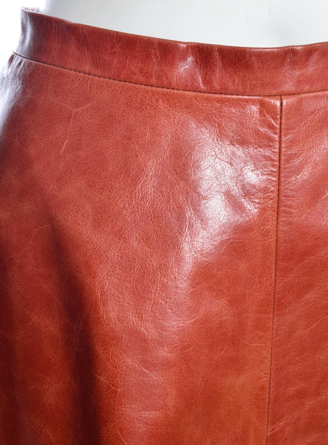 ef367fcba Peridot London Burnt Orange Long A-line Leather Skirt - Last One in Orange  - Lyst