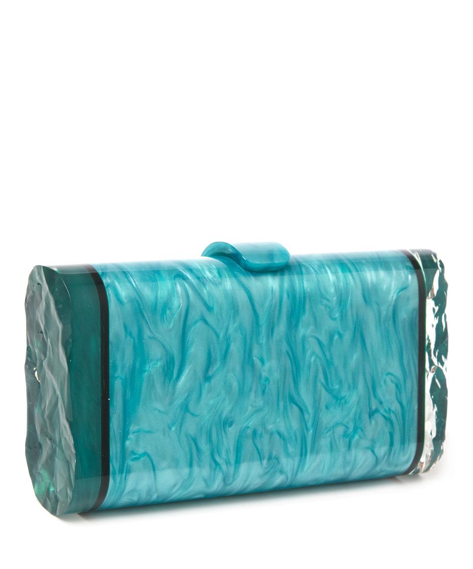 Edie Parker Green Lara Backlit Acrylic Clutch Bag In Green