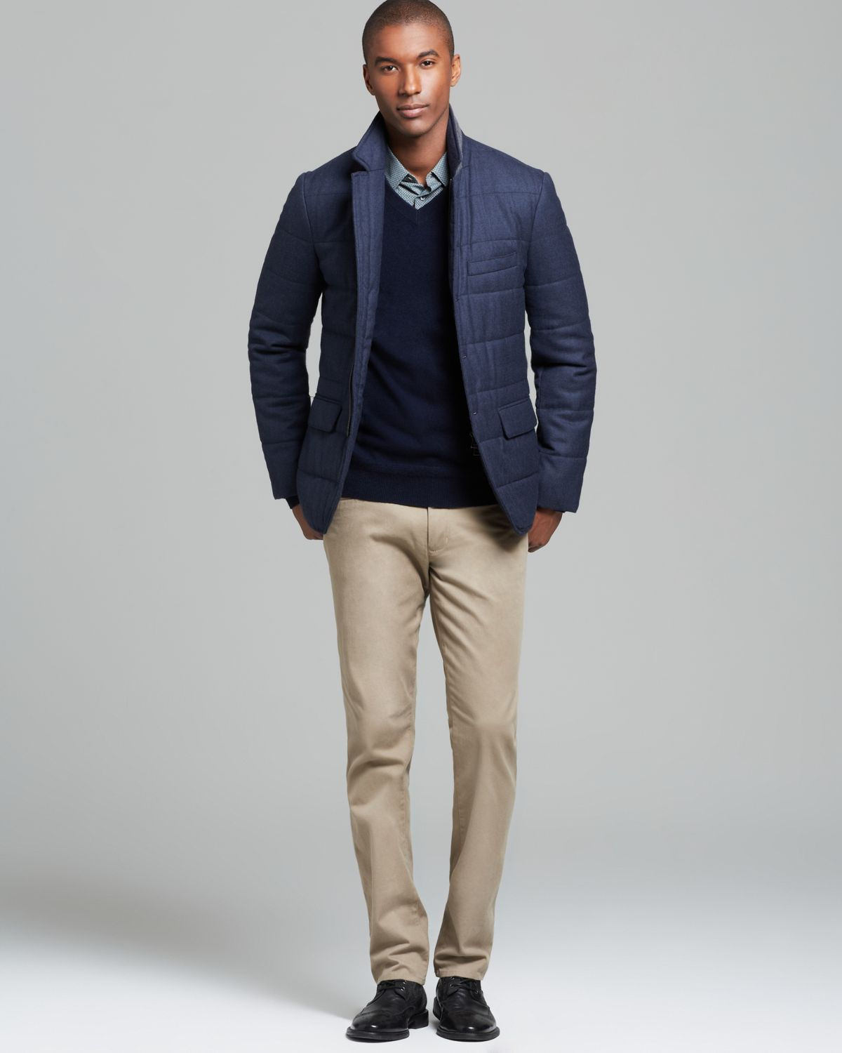 Vince Wool Flannel Quilted Blazer in Blue for Men | Lyst : quilted blazer - Adamdwight.com