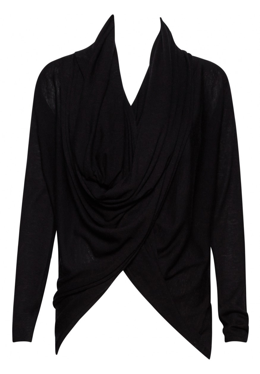 Wrap Around Cashmere Sweater Black - Cardigan With Buttons