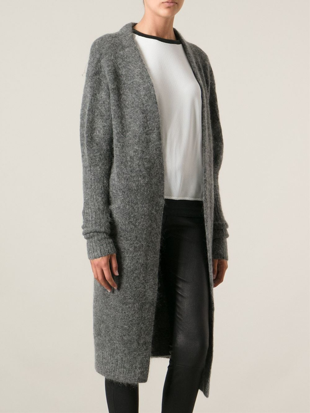 Acne studios 'Raya' Long Cardigan in Gray | Lyst