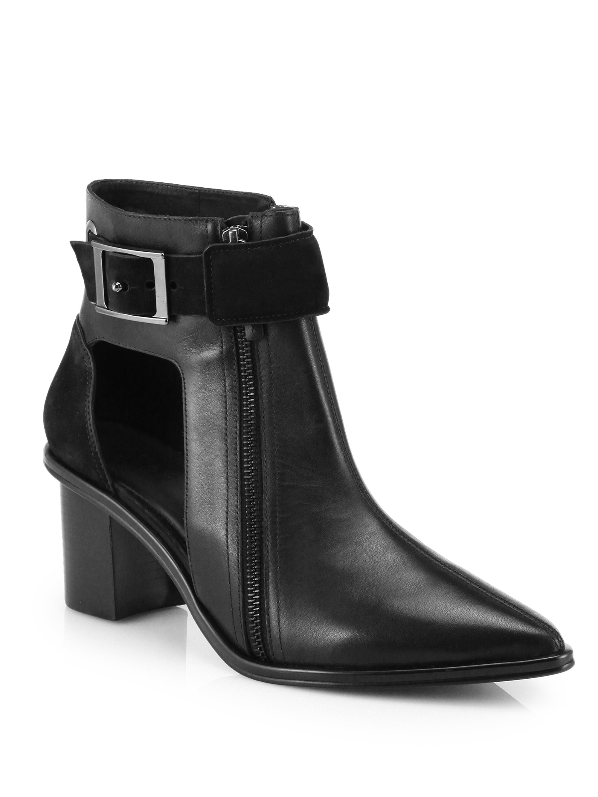 Tibi Leather Cutout Point Toe Ankle Boots In Black Lyst