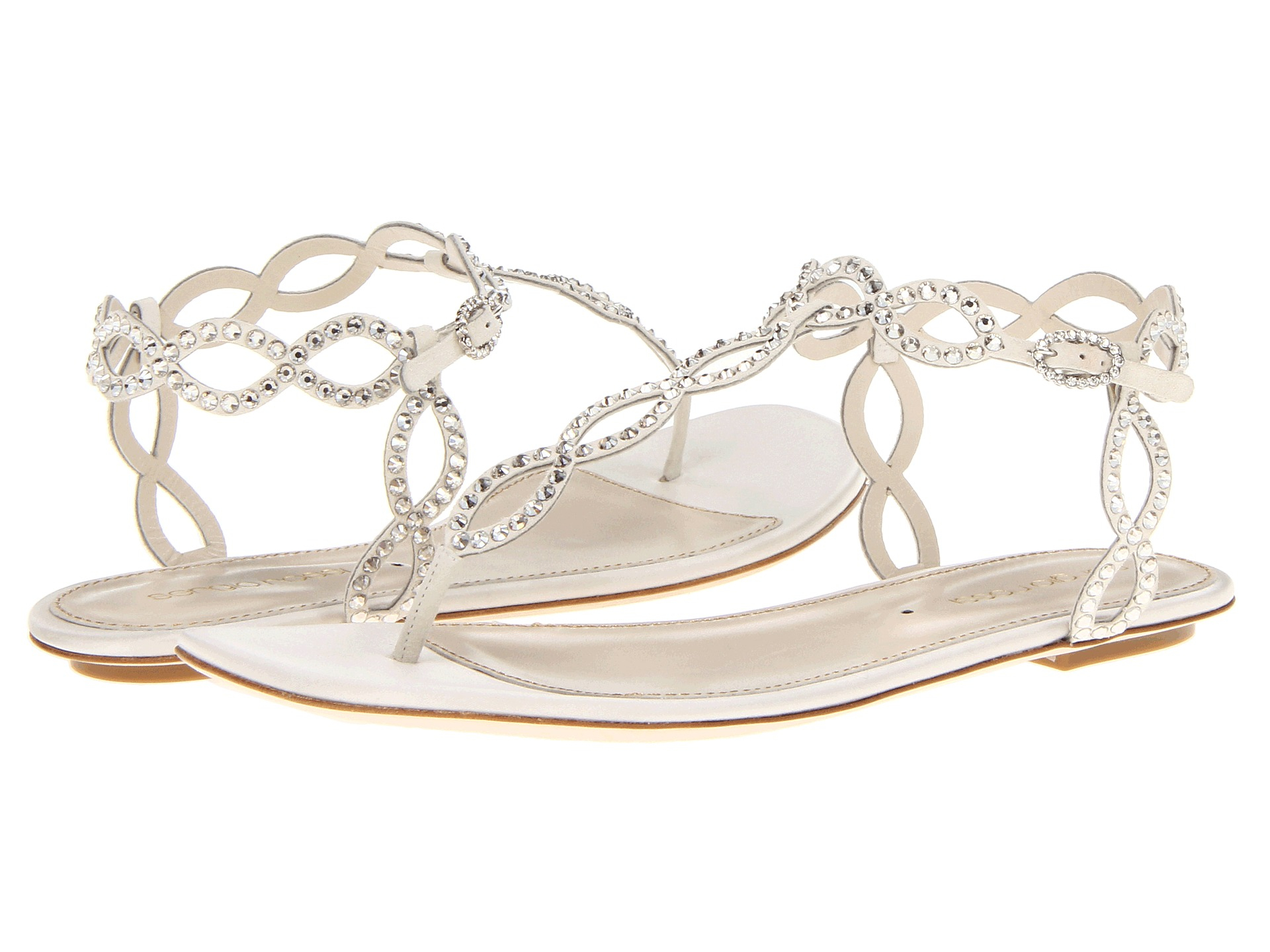 Lyst sergio rossi satin mermaid flat sandal in white for Flat dress sandals for weddings