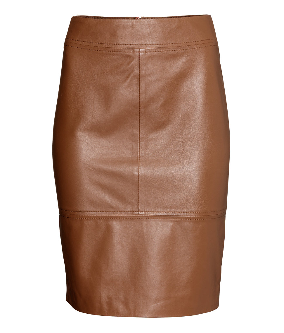 h m leather skirt in brown lyst