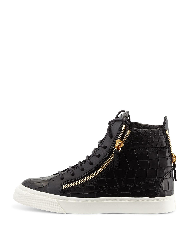 Lyst Giuseppe Zanotti Side Zip Lace Up Mid Top Sneaker