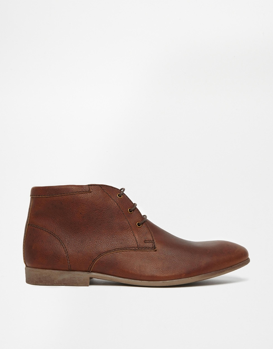 asos chukka boots in leather in brown for lyst
