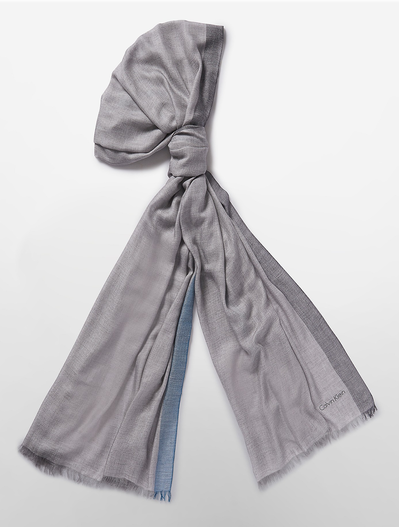calvin klein lightweight color segment print scarf in gray