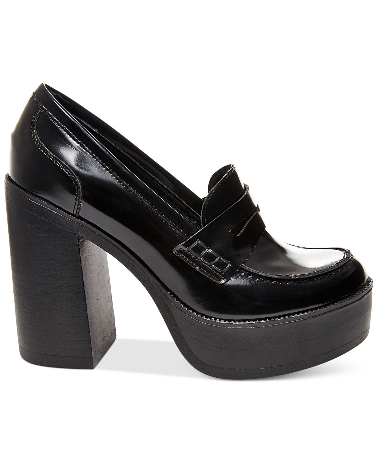 Lyst - Steve Madden Women s Juniper Platform Penny Loafers in Black