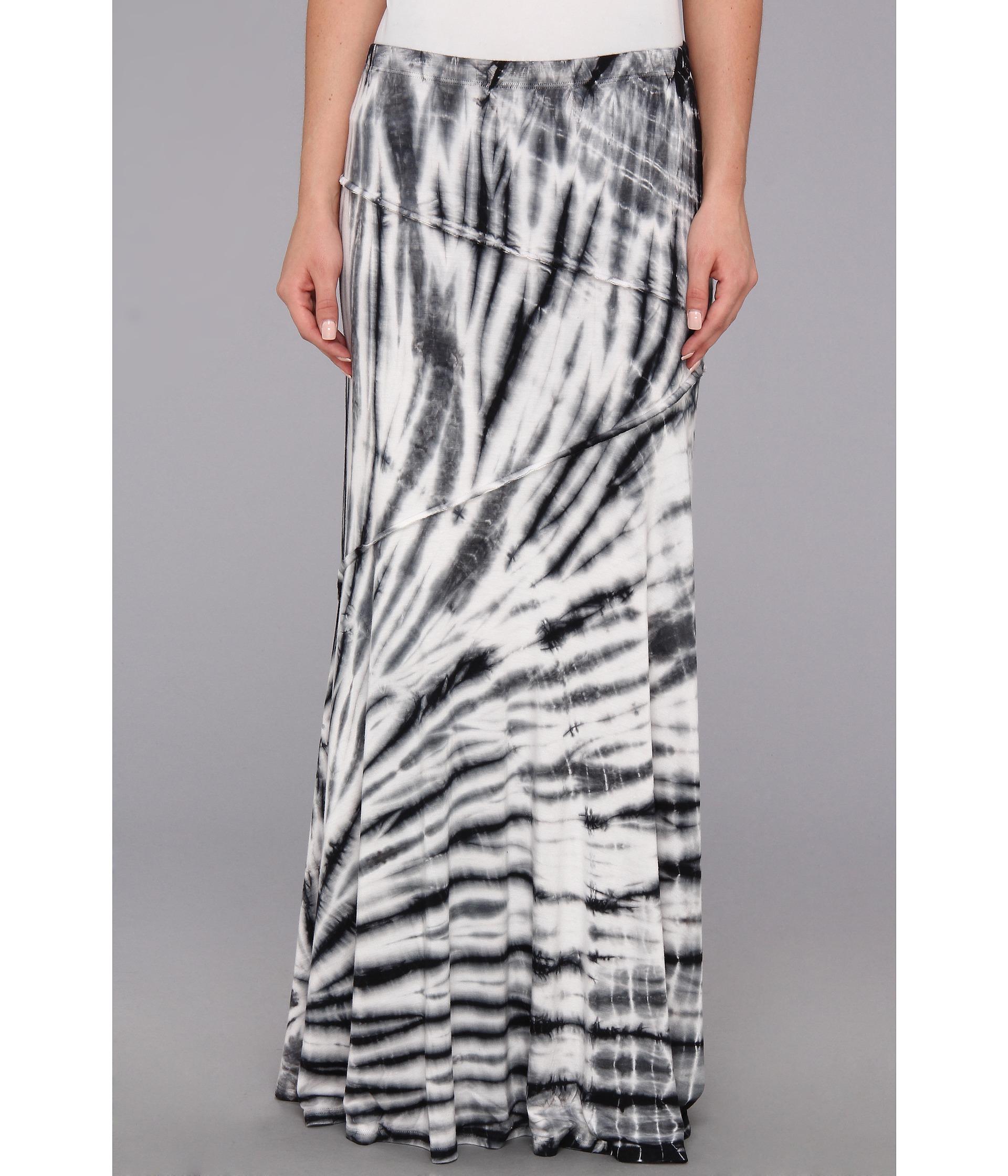 tie dye panel maxi skirt in black tie dye lyst