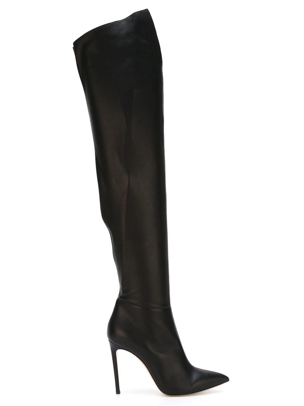 casadei thigh high stiletto boots in black lyst