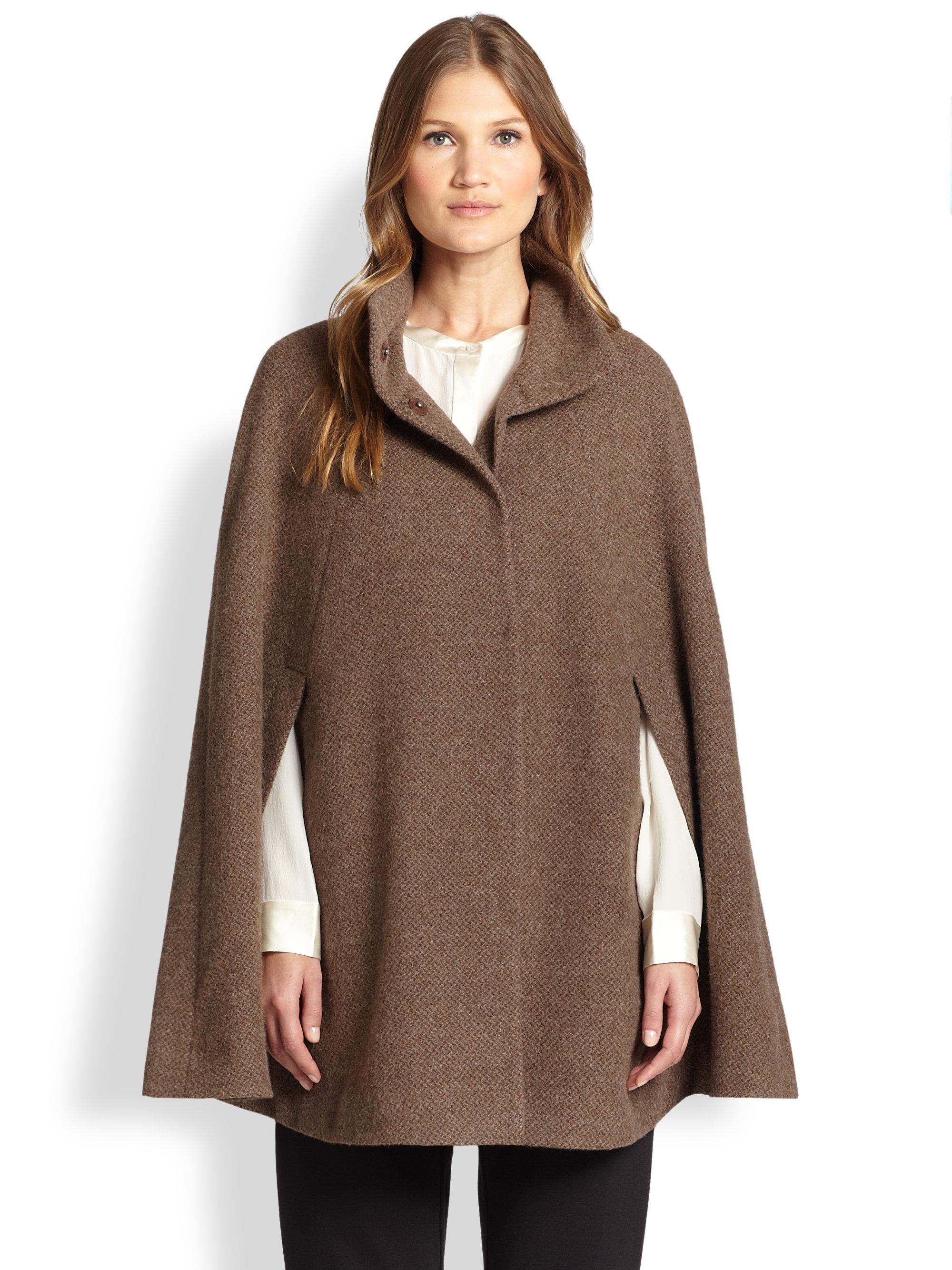 Eileen fisher Alpaca Tweed Cape in Brown | Lyst