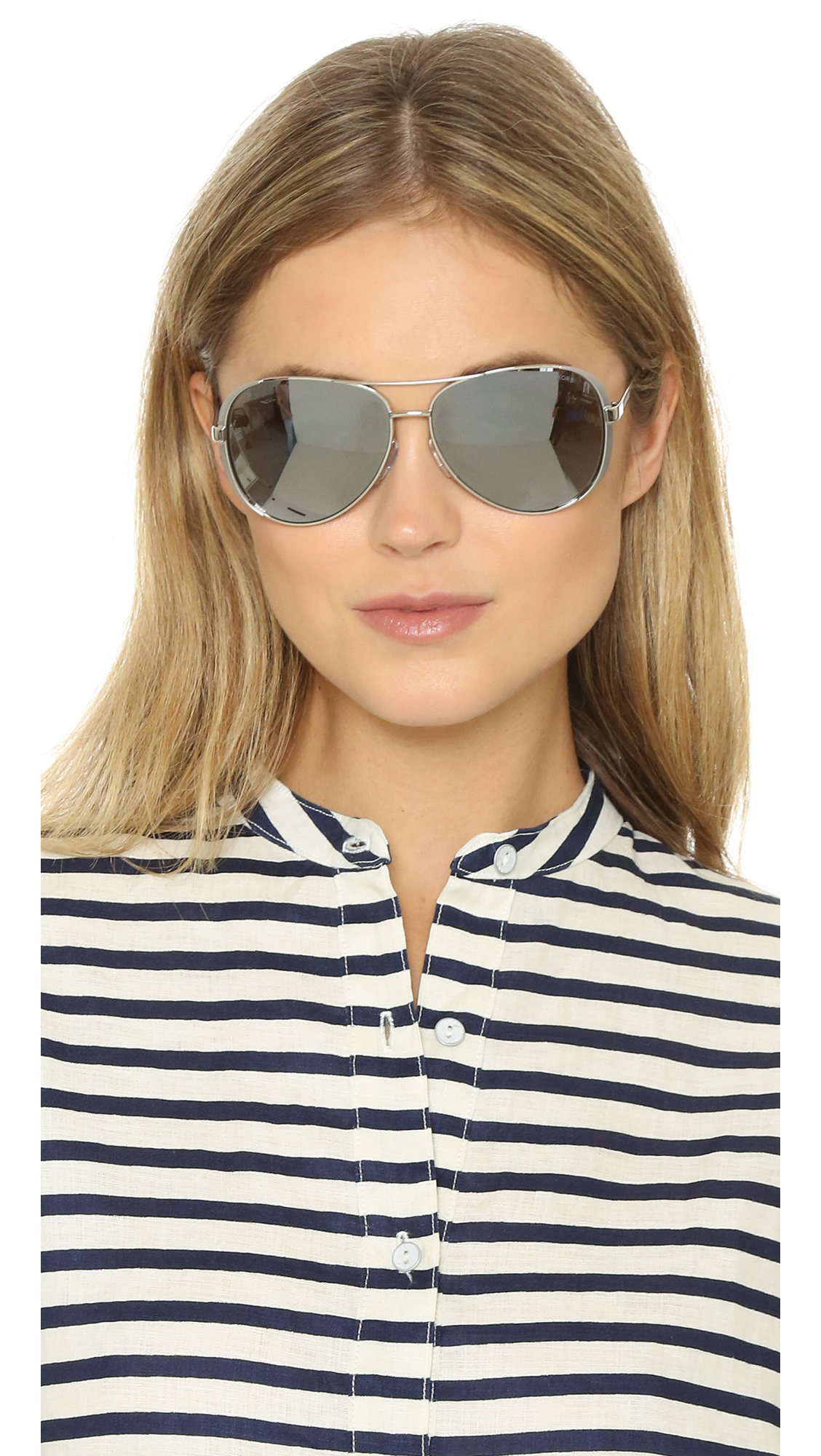 543ca0d2b07d7 ... clearance lyst michael kors chelsea polarized sunglasses in metallic  259cb d0a79