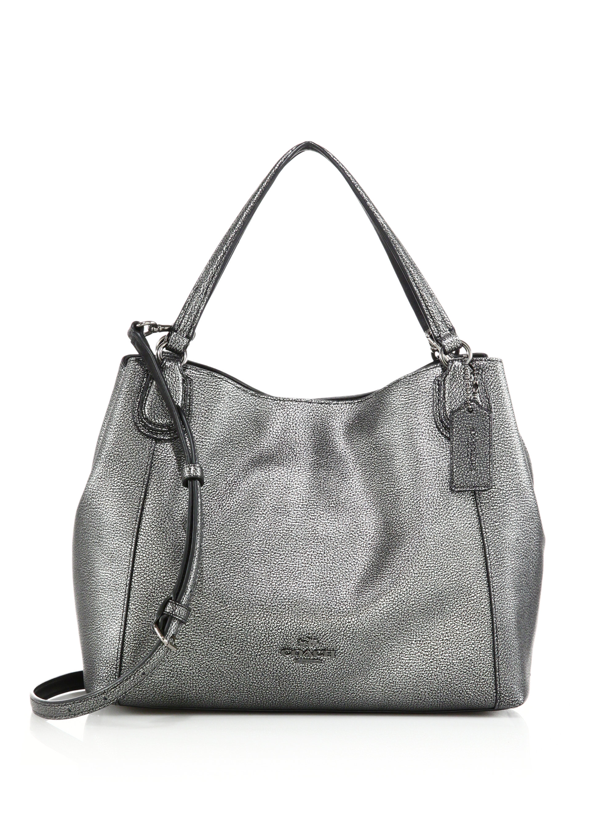 b62797c33428 Lyst - COACH Edie Metallic Pebbled Leather Shoulder Bag in Metallic