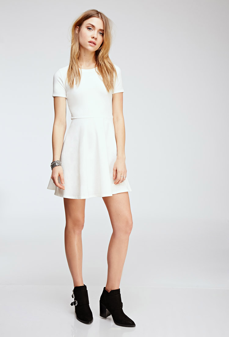 48d8cf1ed Forever 21 Fit   Flare Tee Dress in White - Lyst
