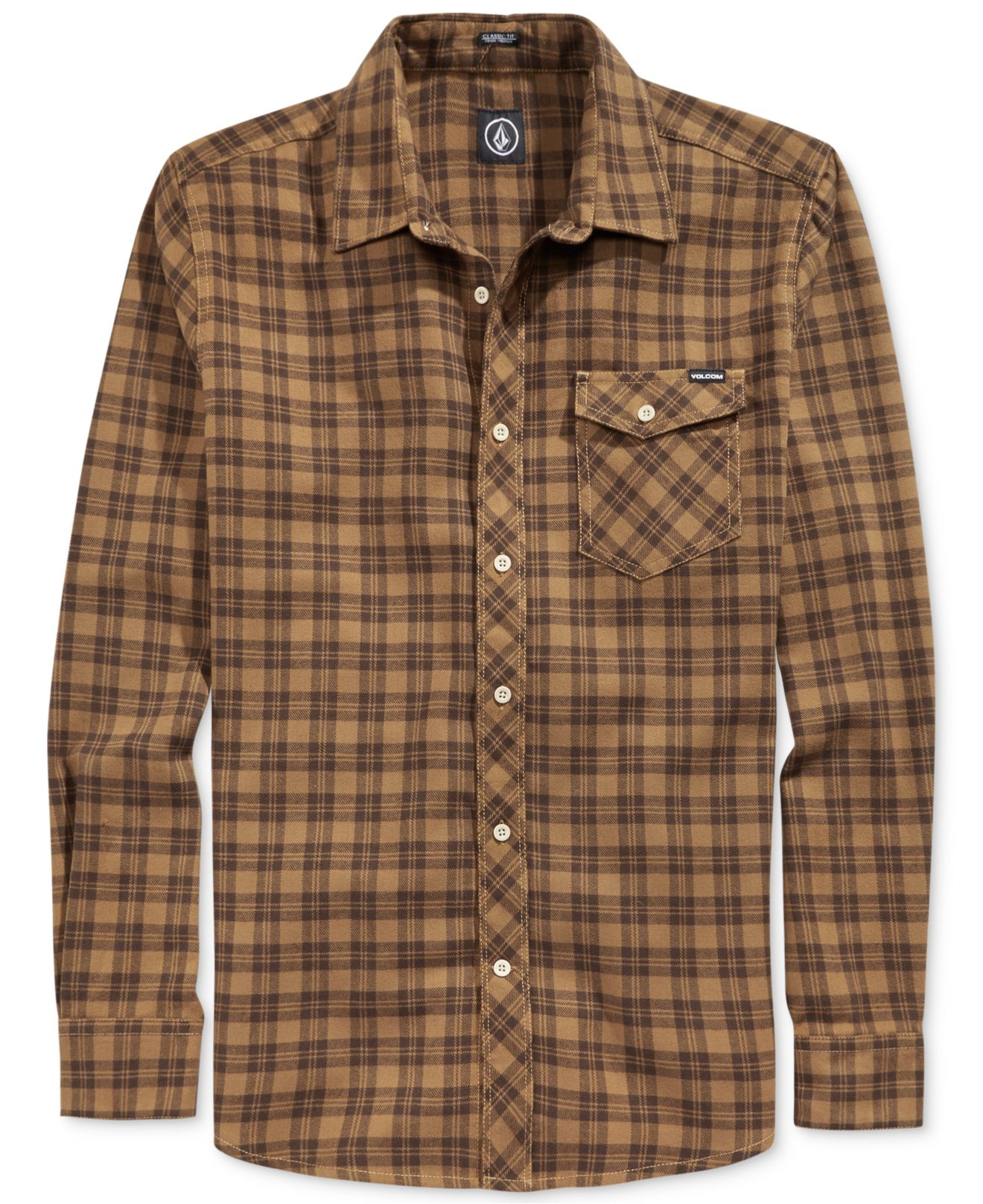 Volcom flartin plaid flannel shirt in brown for men lyst for Cotton polyester flannel shirts