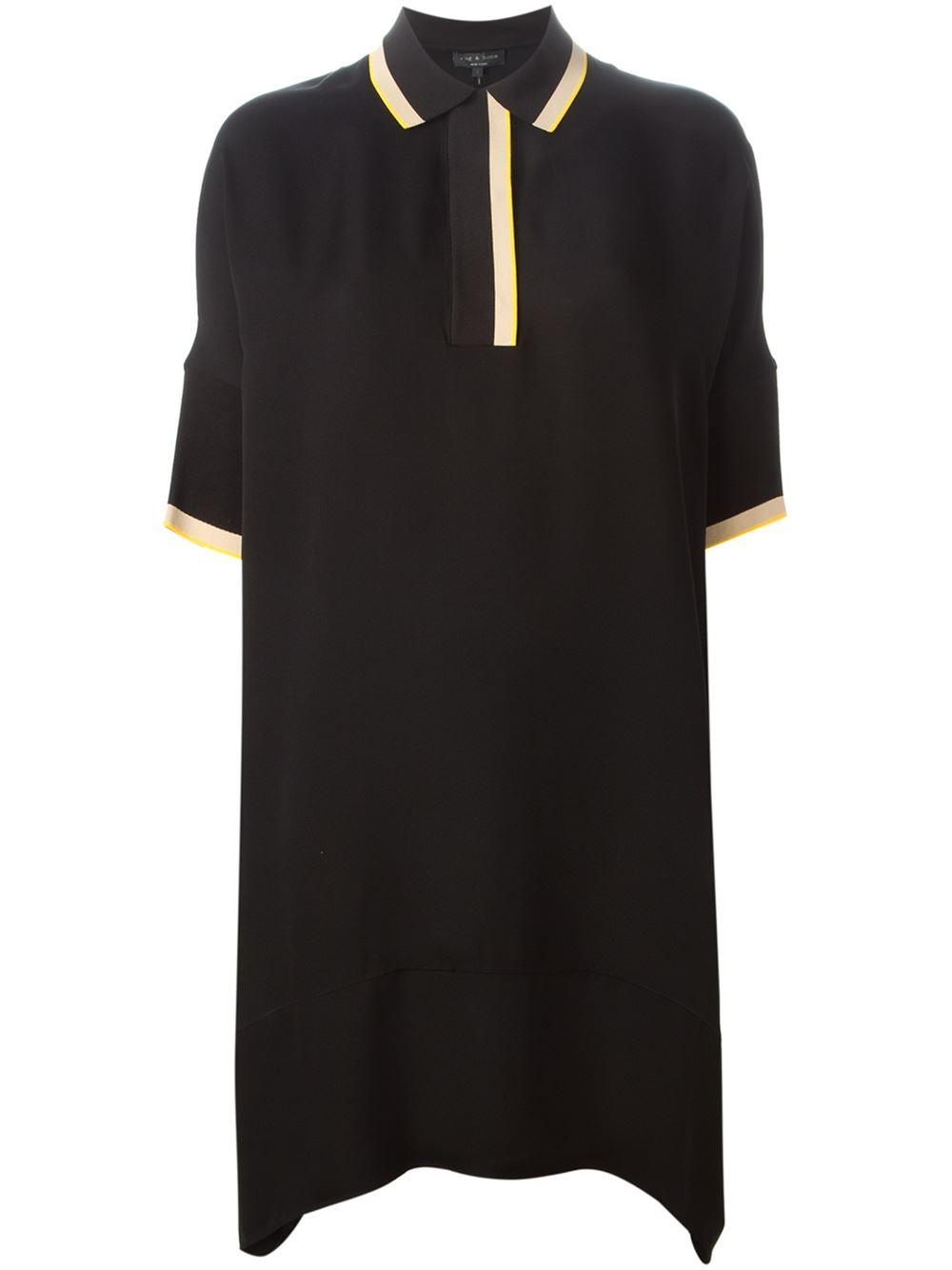Lyst Rag Bone Loose Fit Polo Shirt Dress In Black