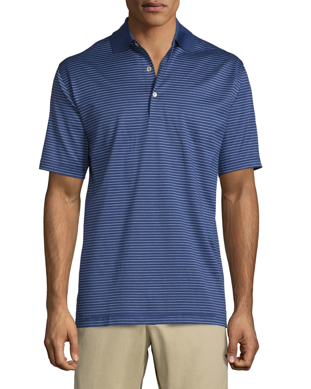Peter millar subconscious striped short sleeve jersey polo for Peter millar polo shirts