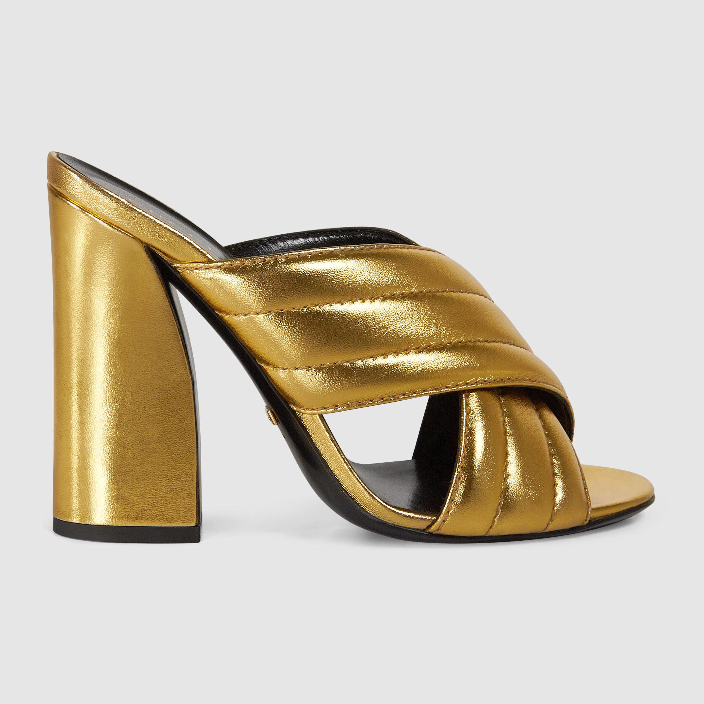 b78a26c04f39 Gucci Metallic Crossover Sandal in Metallic - Lyst