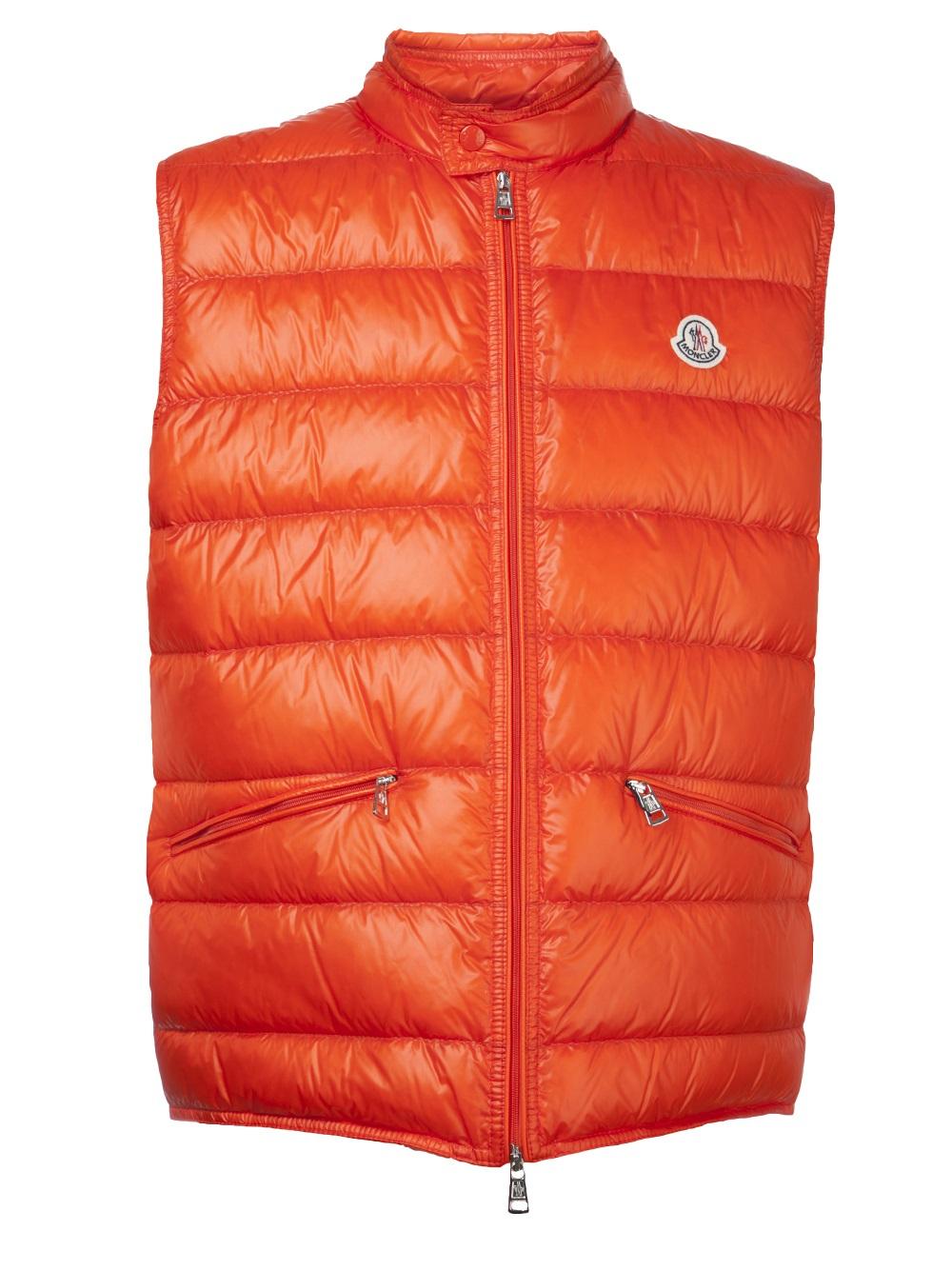 orange moncler vest