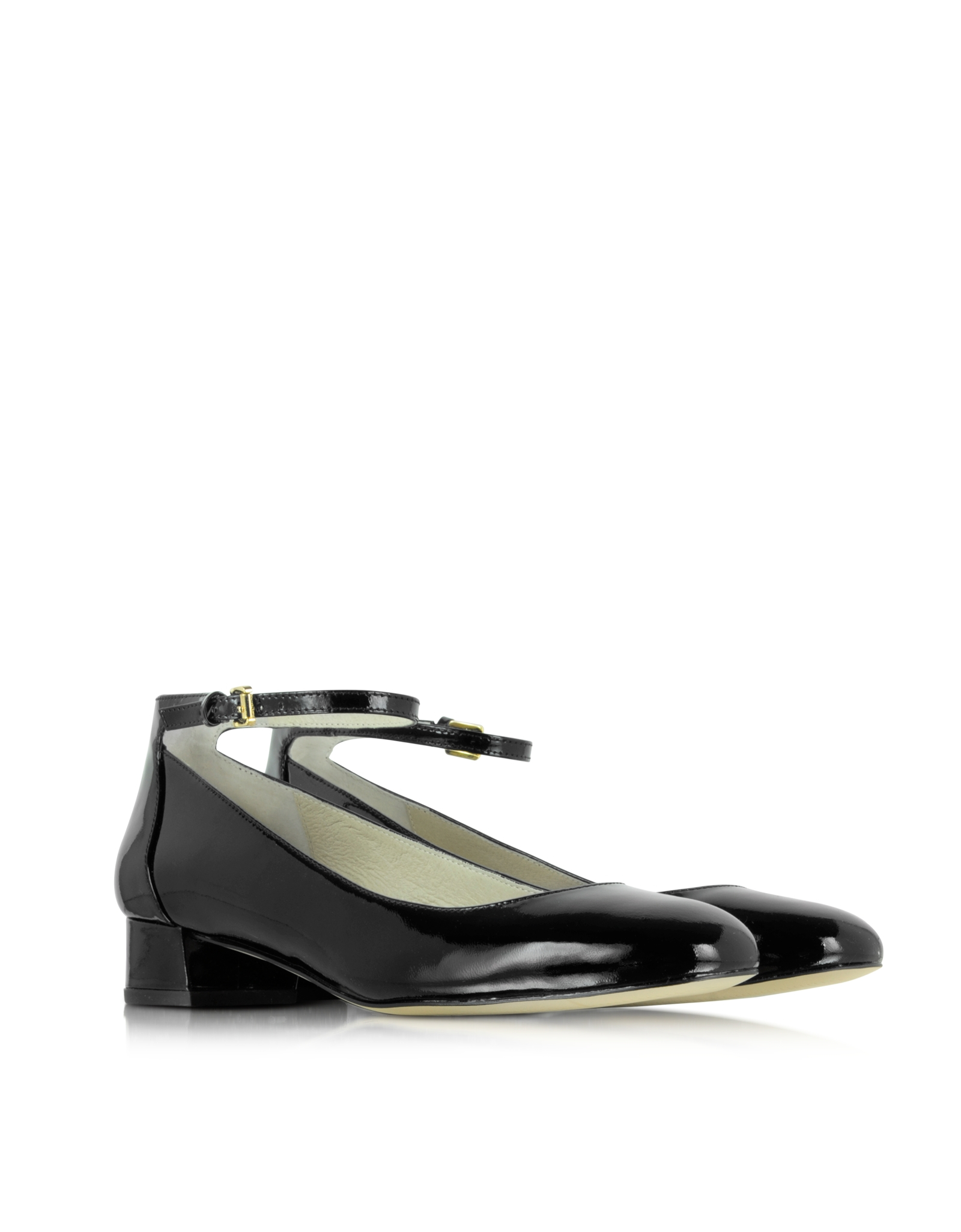14fa2e70c1ec Lyst - Michael Kors Esther Black Patent Leather Ankle Strap Shoe in ...