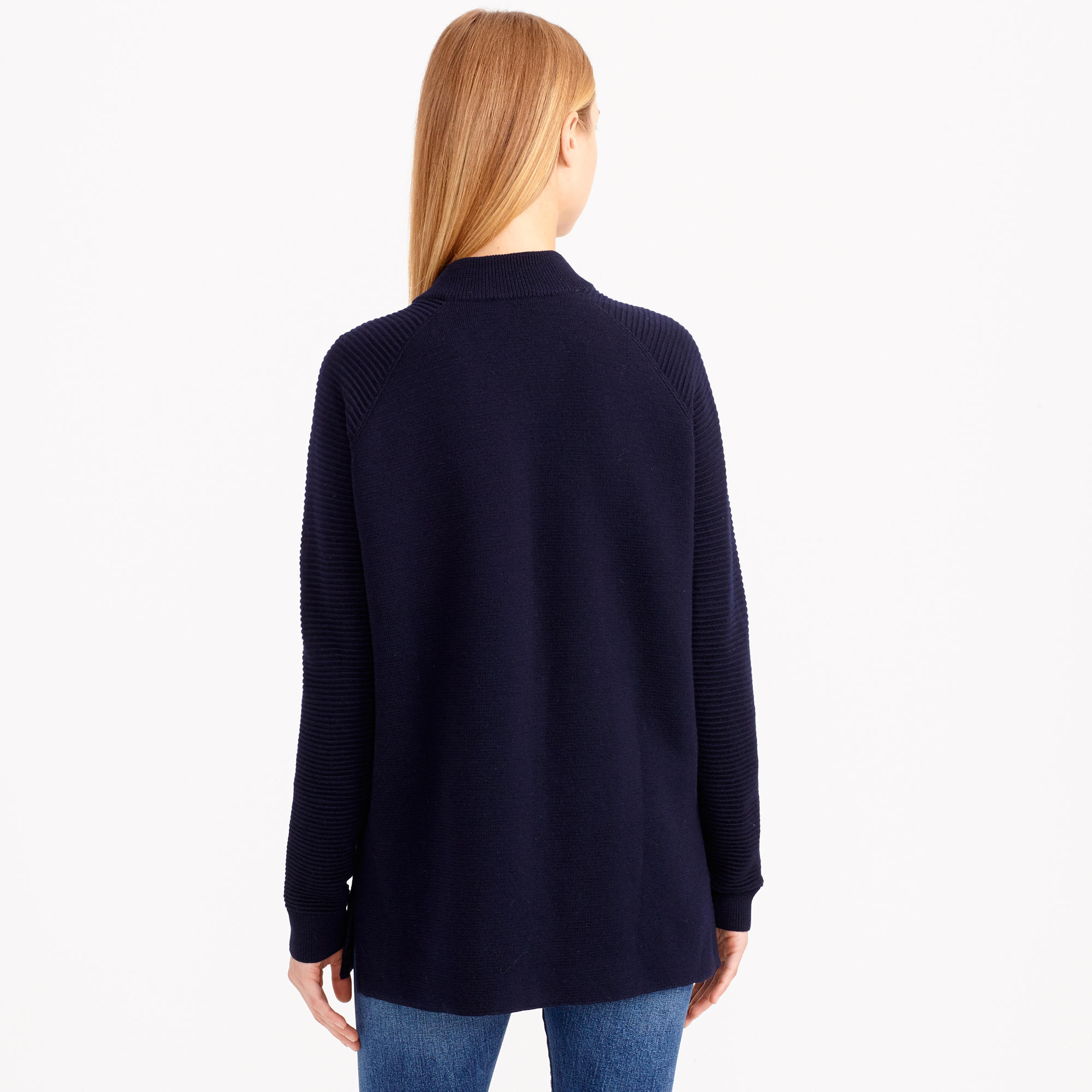 J.crew Collection Ribbed Wool Sweater-jacket in Blue | Lyst