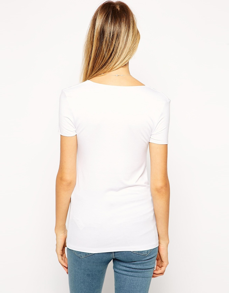Lyst asos t shirt with short sleeve v neck with clean for How to clean white dress shirts